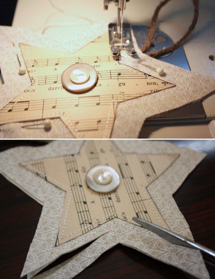 Make a sewing at the fabric part of the Christmas star - Lovely Hand-crafted Christmas Decorations