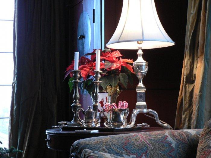 Poinsettias, candy canes and silver tea pot - 10 Simple and Elegant Christmas Decorating Ideas