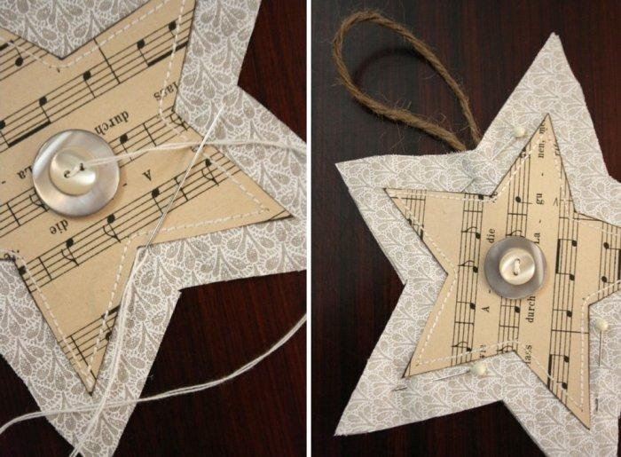 Put buttons on each Christmas star - Lovely Hand-crafted Decorations