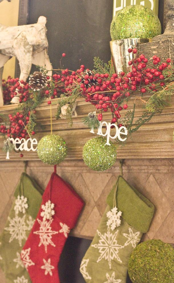 Red and lime Christmas stockings - 15 Great Colorful Ideas for Home Decorations
