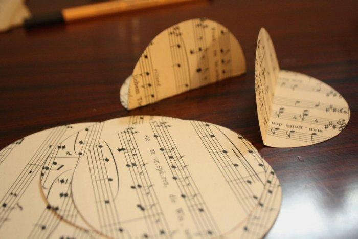 Six music paper circles ready to be attached together - Lovely Hand-crafted Christmas Decorations