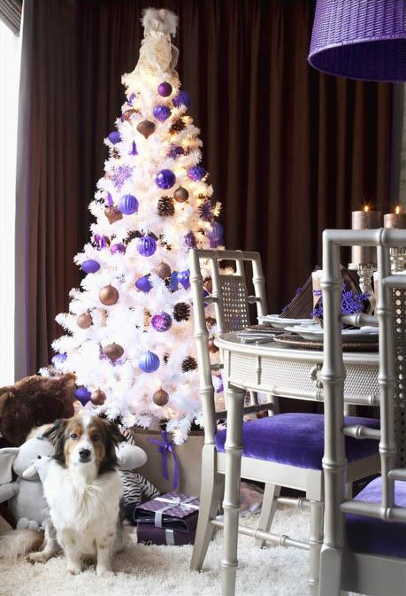 Snow white Christmas tree with purple and brown balls - 15 Great Colorful Ideas for Home Decorations