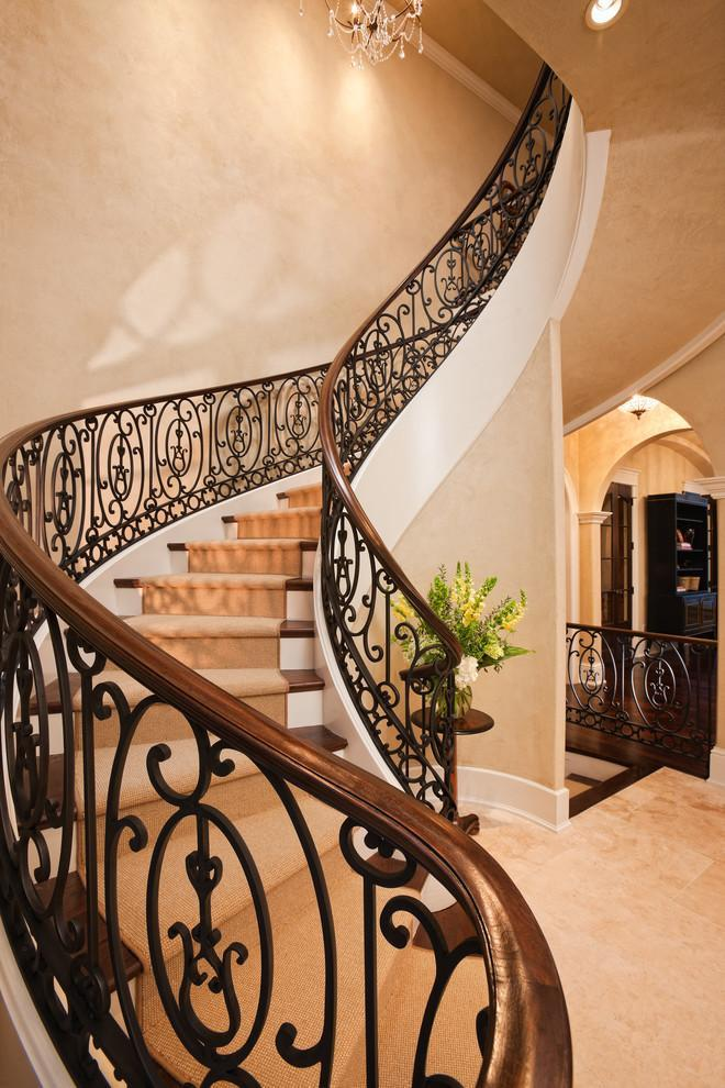 Spectacular curved staircase of wrought iron railings and solid wood top - Splendid High-End Mansion in Minnesota, USA