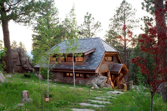 Stone path to a Small Art Cottage near Rocky Mountains, Colorado