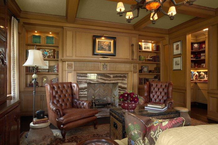 The ultimate man cave in dark brown colors- Stunning Family Mansion in Minnesota