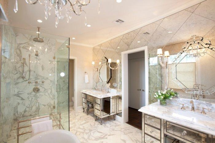 Ultra luxury bathroom interior with gold marble and Venetian mirrors - Refined Mansion with Elegant Touch in Houston