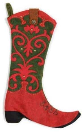 Western Boot Stocking, Red & Green-20 Christmas Stockings Ideas that Cheer Up the Interior