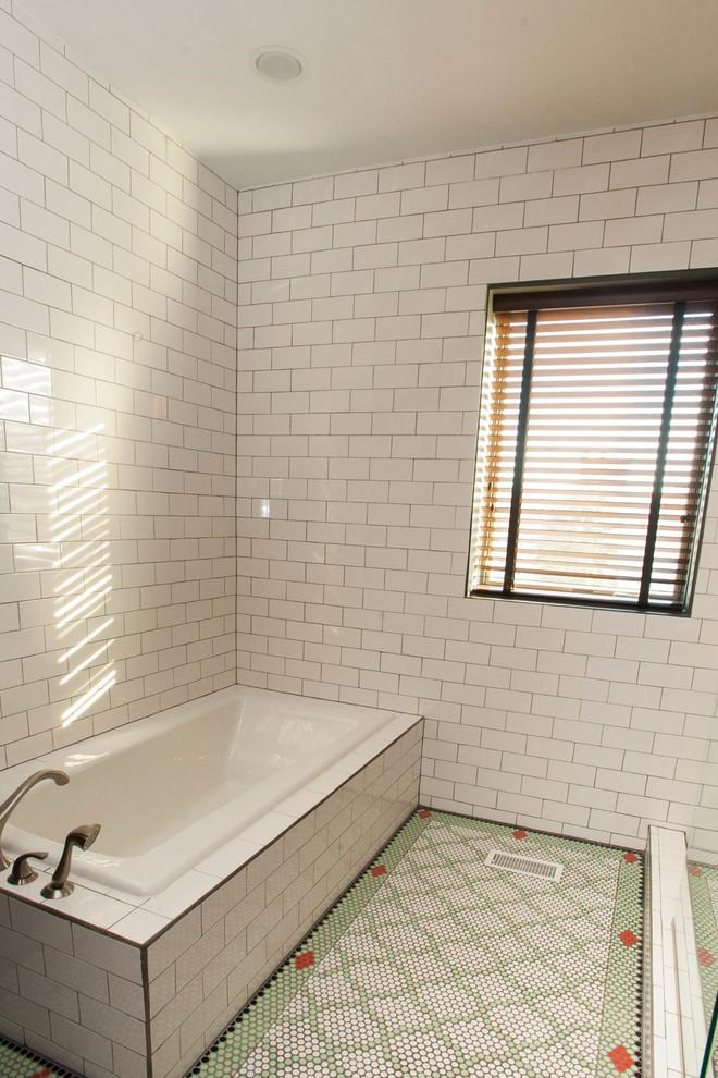 White bathroom with Moroccan flooring - Magical Couple Home in Pittsburgh, USA
