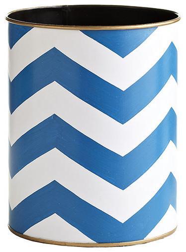 Blue Chevron Wastebasket-20 Fantastic Cheerful Ideas for Christmas Tree Skirts