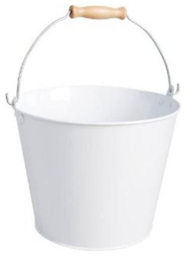 Esschert Design USA White Metal Bucket With Wood Handle-20 Fantastic Cheerful Ideas for Christmas Tree Skirts