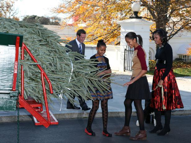 Malia and Sasha Obama enjoy the Christmas tree - Holiday Ideas from America's First Home