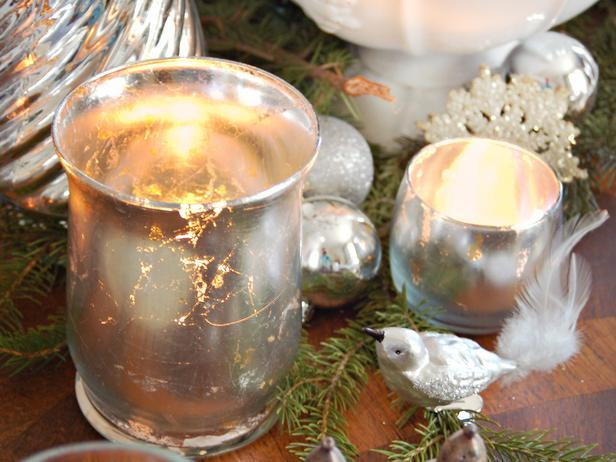 Mercury-Glass Votives-20 Splendid Christmas Tabletop Ideas for Centerpieces