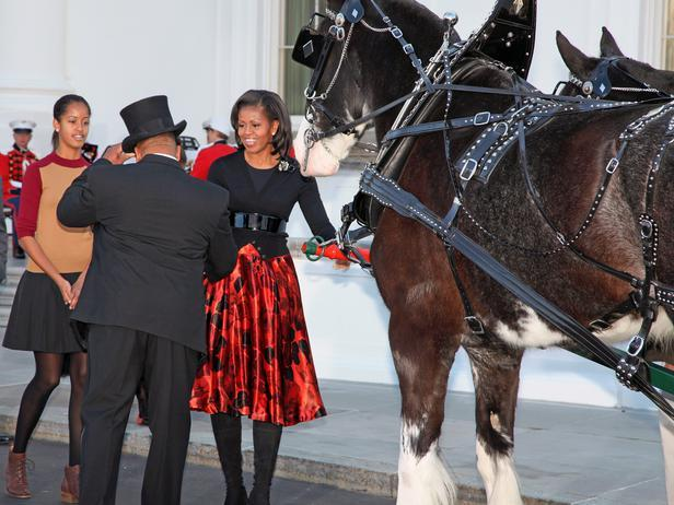 Michele Obama greeting the carriage driver - Holiday Ideas from America's First Home