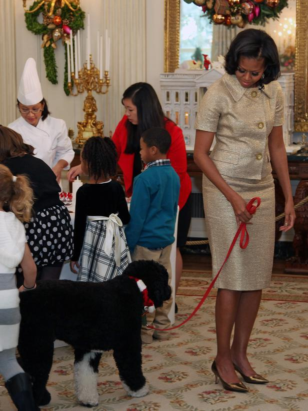 Michele Obama leading her dog – Bo - Holiday Ideas from America's First Home