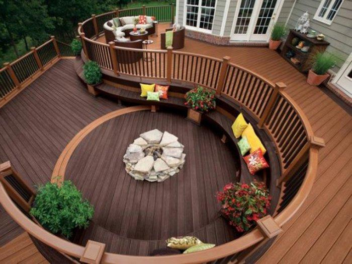 Luxury front wooden deck with patio furniture