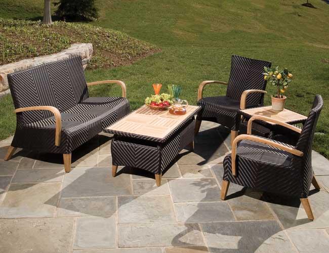 Patio furniture in elegant black stripes