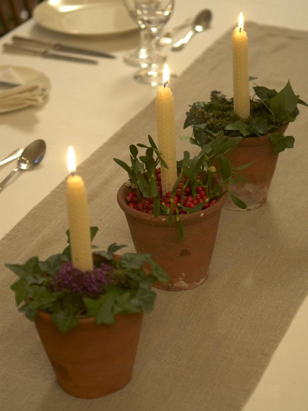 Terra Cotta Candleholders -36 Eye-Catching Ideas for a Holiday Table