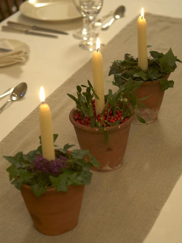 Terra Cotta Candleholders-20 Splendid Christmas Tabletop Ideas for Centerpieces