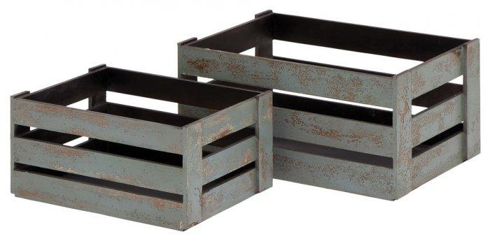 Woodland Imports Wood Crate Basket, Gray-20 Fantastic Cheerful Ideas for Christmas Tree Skirts