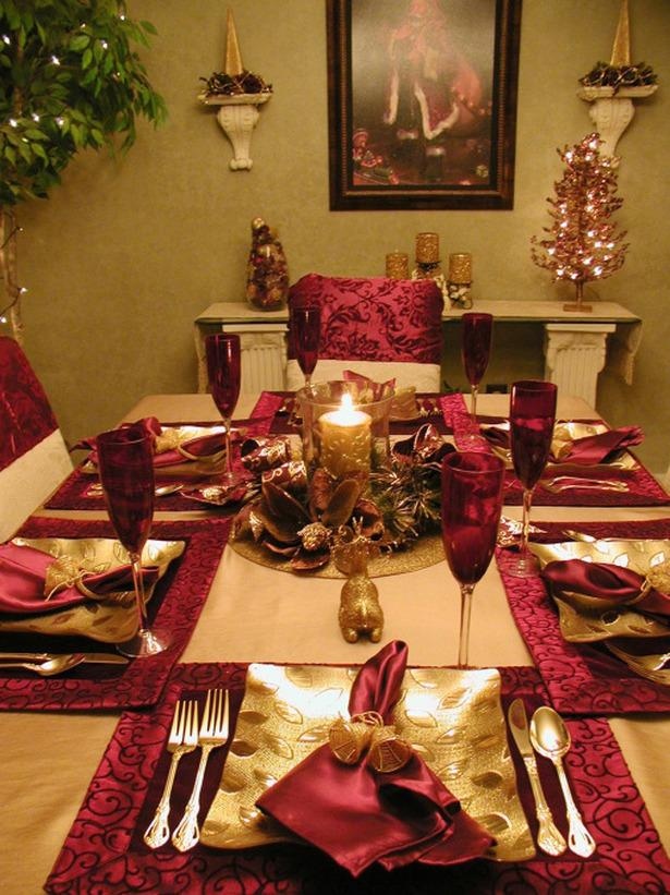 Fanciful Christmas table with red and golden touches  - 24 Dazzling Settings for a Sparkling Holiday Night