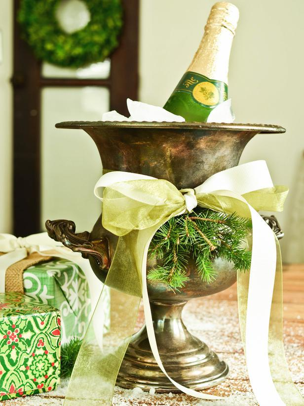 Silver Champagne or Ice Bucket -Vintage Christmas Ideas for a Holiday Table Setting