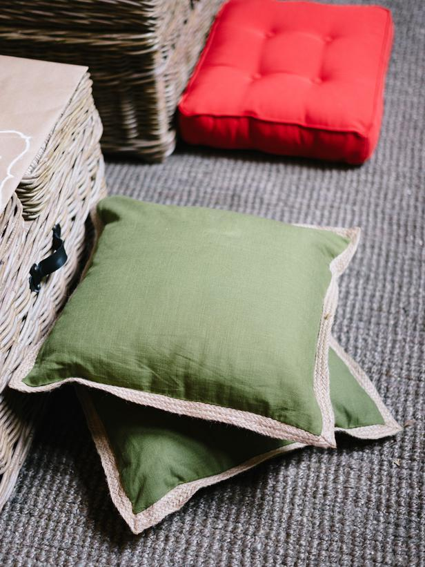 Soft pillows used as seating for toddlers - How to Set Up a Kids' Christmas Table for Fun?