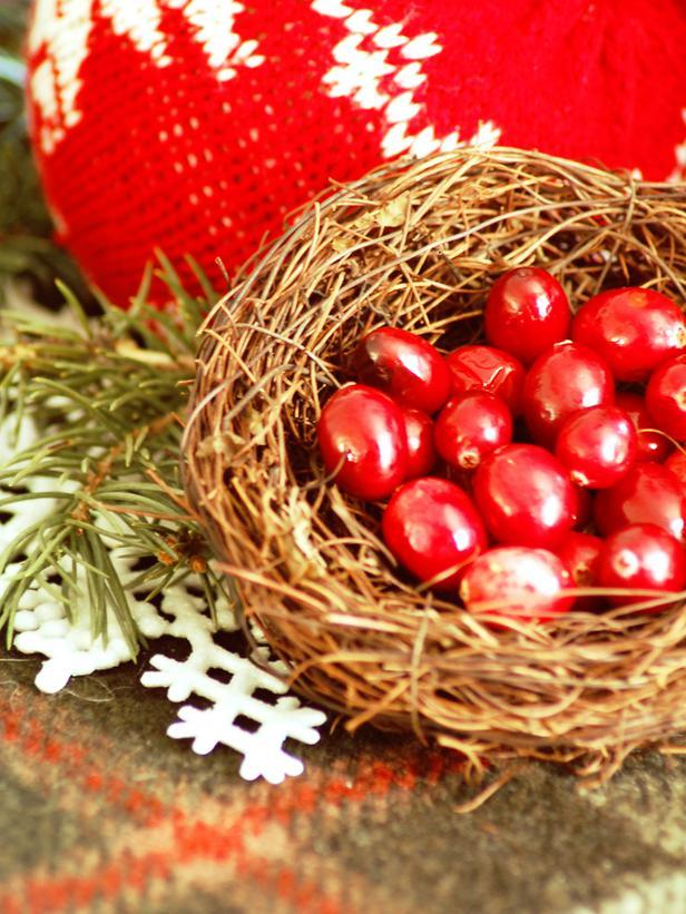 Splendid Christmas nest with red cranberries - Rustic Christmas Table Ideas