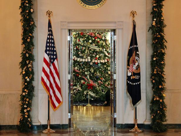 The entrance to the Blue Room decorated with vertical garlands - Holiday Ideas from America's First Home