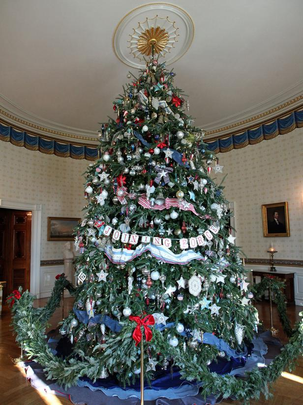 The official Christmas tree in the Blue Room - Holiday Ideas from America's First Home