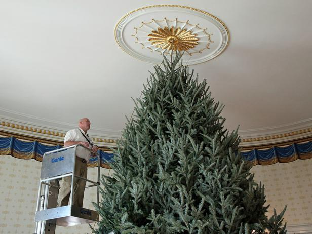 The tall Christmas tree reaches the ceiling of the Blue Room - Holiday Ideas from America's First Home