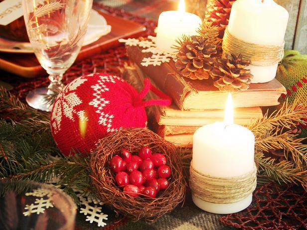 Various decorations on a Rustic Christmas Table