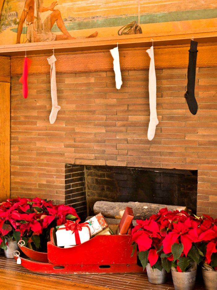 White, red and black Christmas stockings - Christmas Home Decor Ideas and Examples
