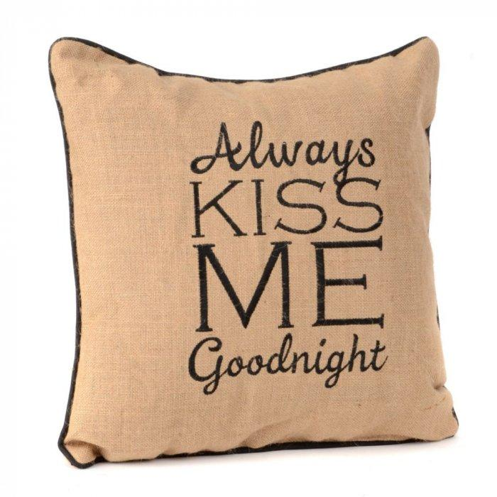 Always Kiss Me Goodnight Burlap Pillow -Valentine's Day Items & Ideas for Themed Decoration