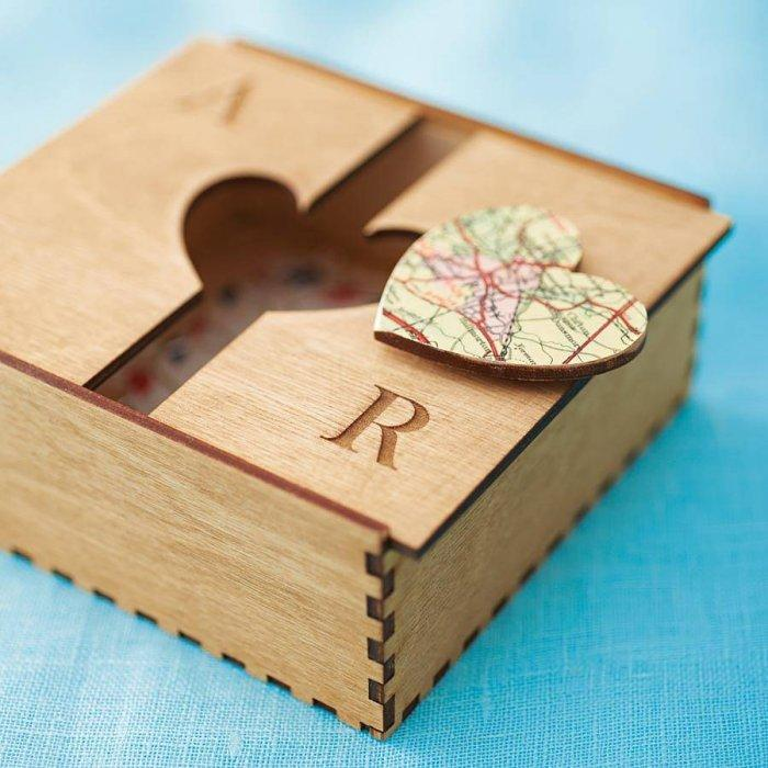 Bespoke Wooden Map Heart Box- 10 unique and lovely Valentine's Day gift ideas
