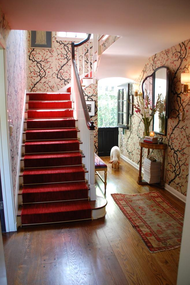 Blossoming walls and a red stair runner - 50 Creative Home Decorating Ideas