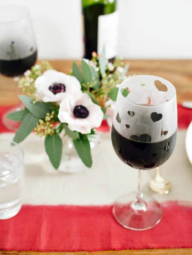 Etched Wineglasses -Easy DIY Valentine's Day Crafts for Home Decoration
