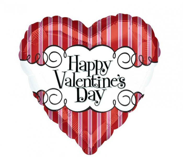 Foil Striped Heart Valentines Day Balloon- Lovely Items for Home Decoration