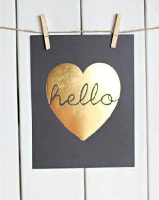 Heart of Gold Print-Love home decor for February 14th