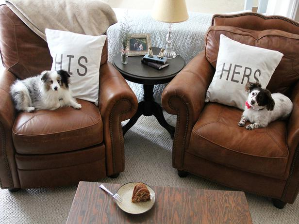 His + Her Throw Pillows -Easy DIY Valentine's Day Crafts for Home Decoration