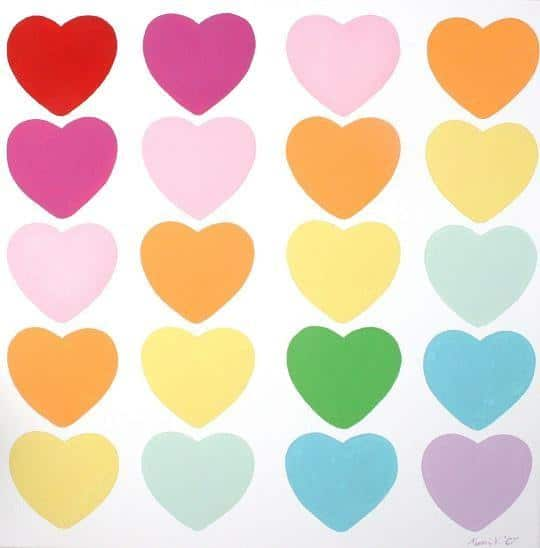 Modern Hearts-Line Limited Edition Painting-Love home decor for February 14th