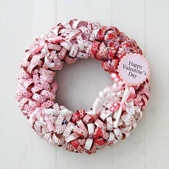 Paper Curls Valentine Wreath - Easy DIY Handcrafted Valentine's Day Decor