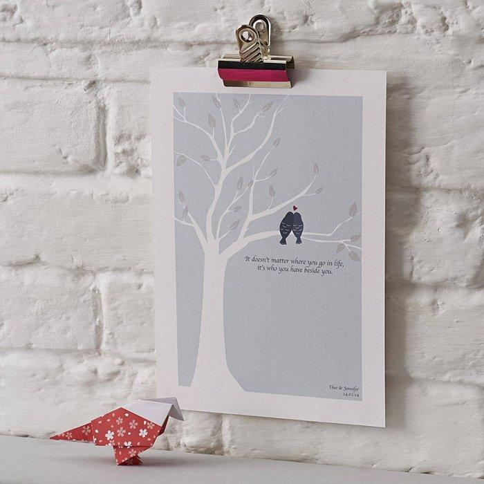 Personalised Love Birds Print- 10 unique and lovely Valentine's Day gift ideas