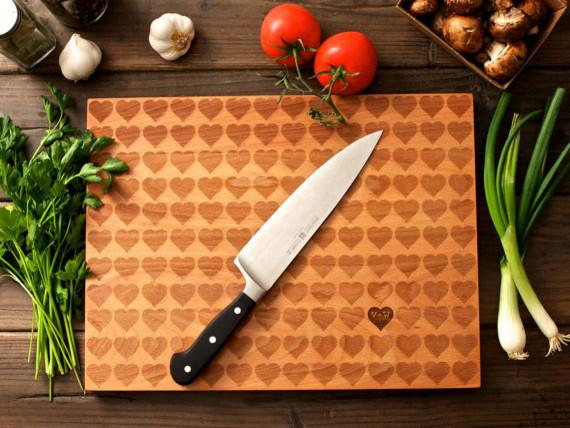 Personalized Carved Heart Engraved Wood Cutting Board by Wood Ink -Love home decor for February 14th