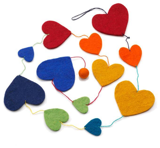 Rainbow Heart Garland - Love home decor for February 14th