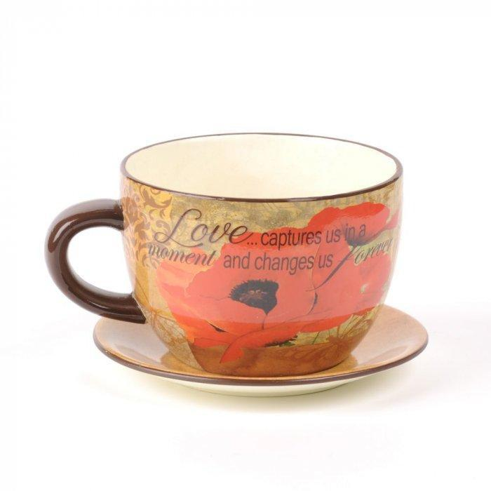Red Poppy Love Tea Cup Planter -Valentine's Day Items & Ideas for Themed Decoration