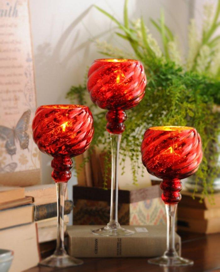 Red Twist Mercury Glass Charisma, Set of 3 -Valentine's Day Items & Ideas for Themed Decoration