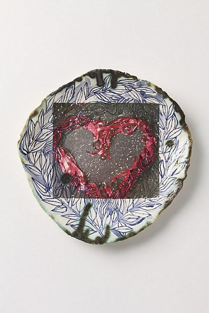 Ribbon Heart Plate-Love home decor for February 14th