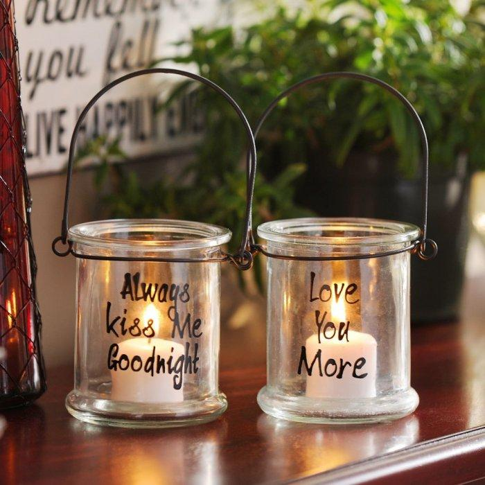 Sentimental Glass Lantern, 4 in. -Valentine's Day Items & Ideas for Themed Decoration