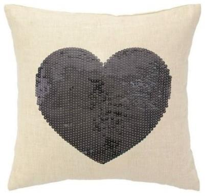 Sequin Heart Pillow, Silver-Love home decor for February 14th