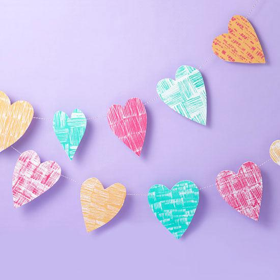 String of Hearts Garland - Easy DIY Handcrafted Valentine's Day Decor
